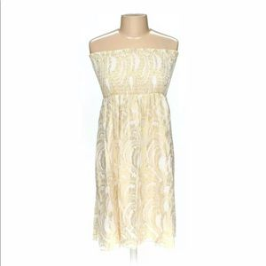Rosie Pope Smocked Gold Jacquard Maternity Dress M